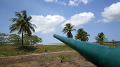 Big canon at the Suriname River Stock Footage