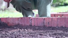 Gardener arranges land and puts plant Stock Footage