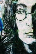 Famous place in Prague - The John Lennon Wall, Czech Republic - stock photo
