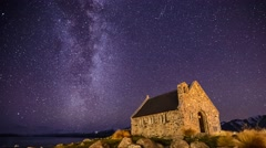 Majestic Milky Way Rising Over Good Shepherd Church, Timelapse Zoom Out Stock Footage