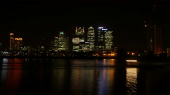 Time Lapse of London's Canary Wharf Financial District at Night Stock Footage