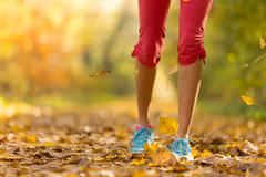 Close up of feet of female runner Stock Photos