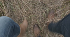 Legs in brown shoes men and women walking on the grass. Stock Footage