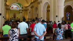 Church service in the Iglesia La Merced, Granada Stock Footage