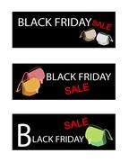 Purse on Three Black Friday Sale Banners - stock illustration