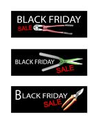 Gardening Equipment on Black Friday Sale Banners - stock illustration