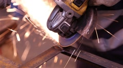 Metalworking using a grinding wheel Stock Footage
