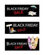 Beach Items on Three Black Friday Sale Banners - stock illustration