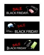 Stock Illustration of Adaptor Power Supply on Black Friday Sale Banners