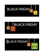 Black Friday Label with Percentages Discount Sale - stock illustration