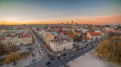 Representative picture of Vilnius, Lithuania in autumn sunset Stock Photos