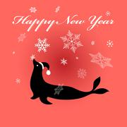 Fur seal on red - stock illustration