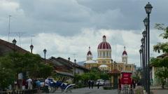 Cathedral of Granada and La Calzada street Stock Footage