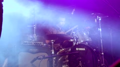 Drummer play in a live music show Stock Footage