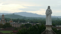 Maria statue with skyline Granada in background Stock Footage