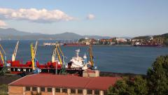 Port moorings in Nakhodka, Primorsky Kray, Russia - stock footage