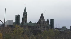 Ottawa City Skyline with view of Parliament Buildings Ottawa  Stock Footage