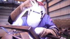 Man welding iron Stock Footage