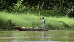 Distant Dugout Canoe Stock Footage
