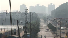 Electric lines, China industrial city street Stock Footage