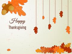 Happy Thanksgiving greeting card with oak leaves and acorn. Stock Illustration