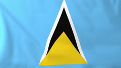 Flag of Saint Lucia waving in the wind, seemless loop animation - stock footage