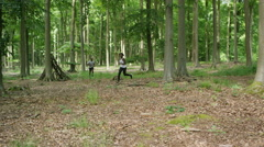 4K Attractive African American couple going for a run in the woods - stock footage