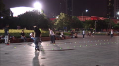 Roller skating park, China Stock Footage