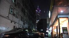 Hong Kong, dark alley, skyscraper, China Stock Footage