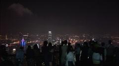 People at Victoria Peak at night, Hong Kong Stock Footage