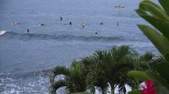 Tropical beach experience ,Honolii Beach Park, surfers Hawaii Stock Footage
