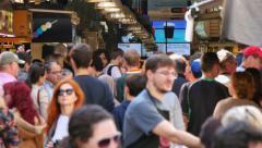 Crowd Shopping in La Boqueria Market in Barcelona Stock Footage