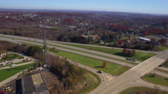 Aerial Western Pennsylvania Interstate Offramp Stock Footage