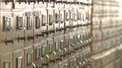 Card index in the library ,many boxes of books,library Stock Footage