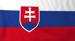 Flag of Slovakia waving in the wind, seemless loop animation - stock footage