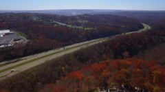 Aerial Over Western Pennsylvania Interstate Stock Footage