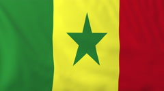 Flag of Senegal waving in the wind, seemless loop animation - stock footage