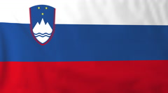 Flag of Slovenia waving in the wind, seemless loop animation - stock footage