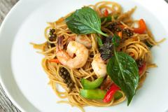 Thai Shrimp with Noodles Meal - stock photo
