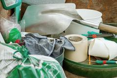 Cluttered and messy storage of garden tools  for diy projects Stock Photos