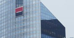 Panning  to Societe Generale logo over the headquarters in Paris Stock Footage