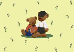 Stock Illustration of Cute black teddy bear