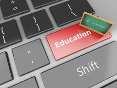 3d Blackboard on computer keyboard. - stock illustration