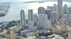 Aerial helicopter video Downtown Miami Stock Footage