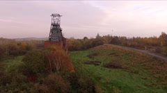 Aerial Fly by coal mine pit top DJI PHANTOM Stock Footage