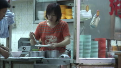 Noodle stand, Hong Kong night market Stock Footage