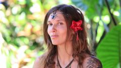 Portrait beautiful hippie girl in nature, close up Stock Footage