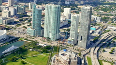 Aerial video Downtown Miami Museum Park 2 Stock Footage