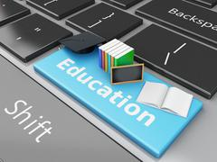 Stock Illustration of 3d graduation cap, books and blackboard on computer keyboard.