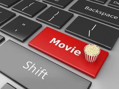 3d Popcorn  on computer keyboard. - stock illustration